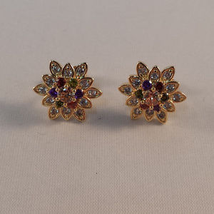 18K Gold Red Topaz Zircon Flower Stud Earrings GF